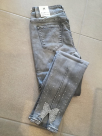 Jeans met strikje grijs