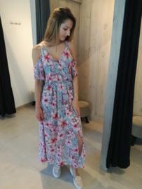 Maxi flower jurk mint