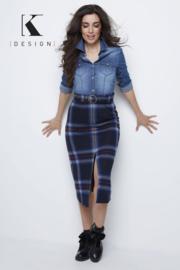K DESIGN maxi jurk carreaux jeans