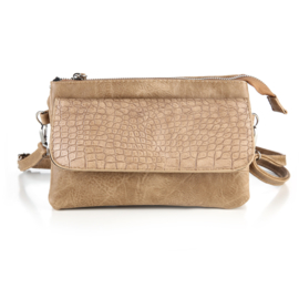 Handtas met crocodesign in camel