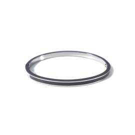 Stainless steel bangle in zilver | Grey