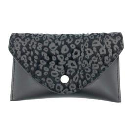 Heuptasje met leopardprint in zwart