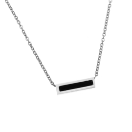 Stainless steel halsketting in zilver | Black Marble