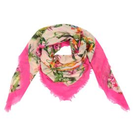 Sjaal met vogel- en bloemprint in fuchsia/multi