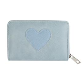 Portemonnee met hartje in grijs/lichtblauw