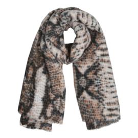 Zachte wintersjaal met slangprint beige/zwart