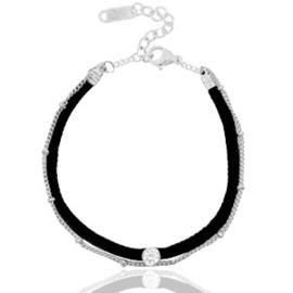 Armbandje in zwart/zilverkleur | Velvet