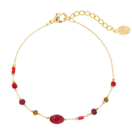 Armbandje in goudkleur/rood | Facet