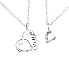 925 zilver halskettingen | Mother & Daughter | Open Heart | 2 stuks