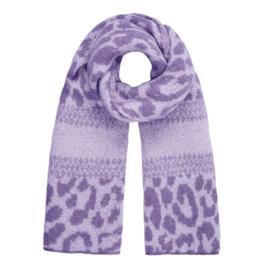 Zachte wintersjaal met luipaardprint in paars/lila