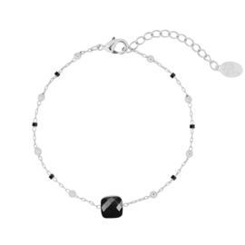 Armbandje in zilverkleur/zwart