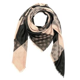 Sjaal met sterprint in lichtroos/donkergrijs