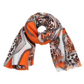Sjaal met ketting- en riemprint in wit/oranje