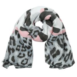 Sjaal met luipaardprint in wit/roos/zwart