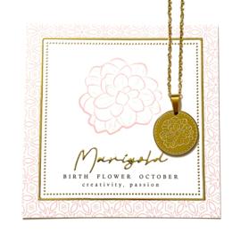 Stainless steel halsketting in goud | Birth Flower | OKTOBER
