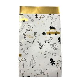Cadeauzakje met kerstprint in wit/zwart/goud | 12x19cm | 5 stuks