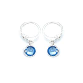 Oorringetjes zilver 'Crystal Glass' in light sapphire