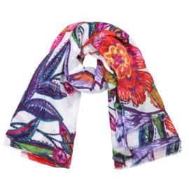 Sjaal met grote bloemprint in wit/multi