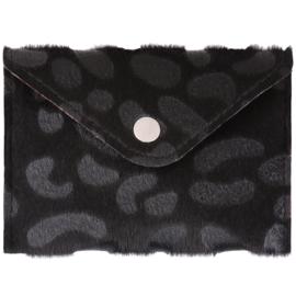 Miniportemonnee met leopardprint in zwart/grijs