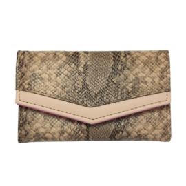 Portemonnee met slangenprint in bruin/beige