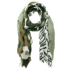 Sjaal met verschillende prints in kaki/wit/cognac