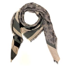 Sjaal met streep- en luipaardprint in lichtroos/grijs/zwart