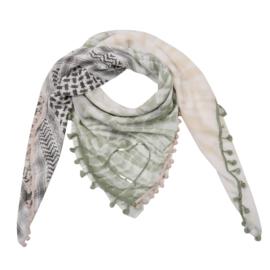 Sjaal met 4 prints in kaki/beige