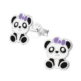 Oorstekertjes in 925 zilver 'Panda 2'