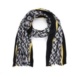 Zachte wintersjaal met kettingprint in grijs/geel/zwart