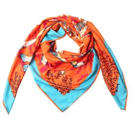 Sjaal met giraffenprint in oranje
