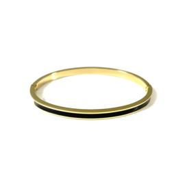 Stainless steel bangle in goud | Black