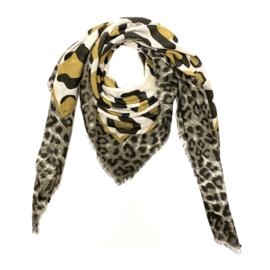 Sjaal met luipaardprint in bruin/ecru/oker
