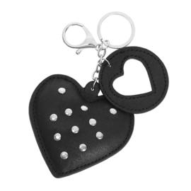 Sleutelhanger met studs in zwart 'Hearts'