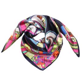 Sjaal met drukke print in donkerblauw/multi