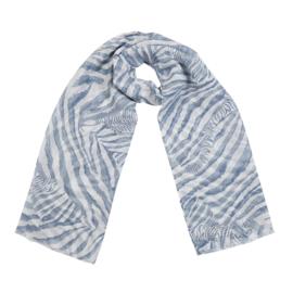 Sjaal met zebraprint in wit/blauw
