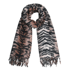 Zachte wintersjaal met zebraprint taupe/zwart