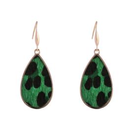 Oorbellen 'Leopard' in goud/groen/zwart