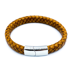 Lederen herenarmband met RVS slot in cognac (9mm)
