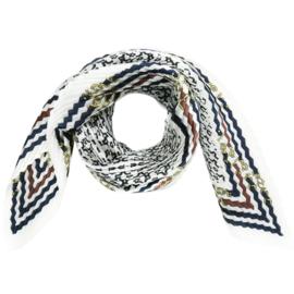 Sjaal in plissé met riemprint in ecru/donkerblauw