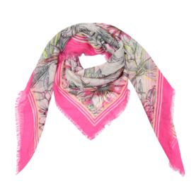 Sjaal met bloemprint in fuchsia/multi