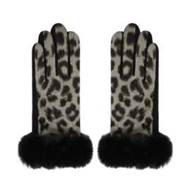 Dameshandschoenen met luipaardprint in lichttaupe/bruin/kaki