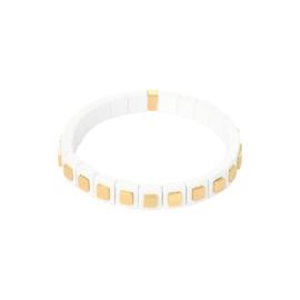 Blokjesarmband met goud en wit