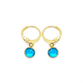 Oorringetjes goud 'Crystal Glass' in aquamarine blue
