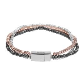 Armband in zwart/zilver- en roségoudkleur | Greece