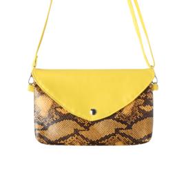 Handtas met slangenprint in geel