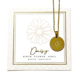 Stainless steel halsketting in goud | Birth Flower | APRIL