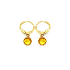 Oorringetjes goud 'Crystal Glass' in sunflower yellow