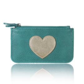 Portemonnee met hartje in groen/goud