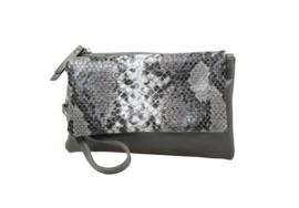 Handtas met snakedesign in grijs