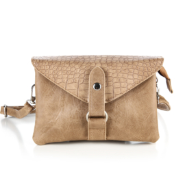 Handtas met crocodesign in beige